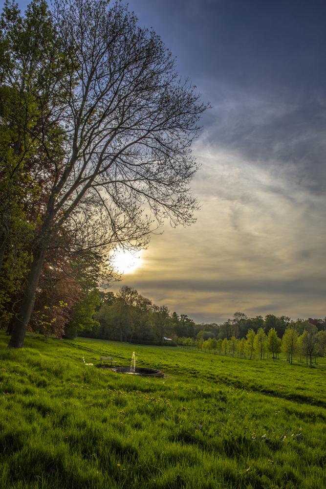 englischer Garten in Bendeleben bei Sonnenuntergang
